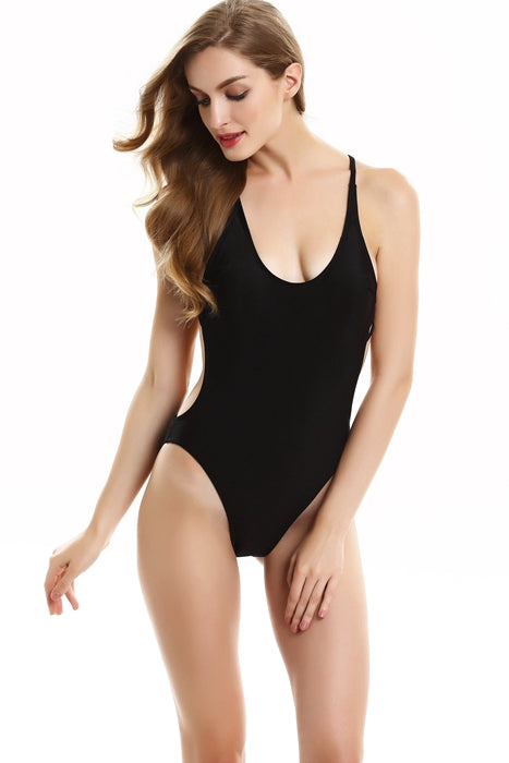 FB716# Solid Scoop Neck Strappy Back High Cut One Piece Swimsuit * - Cobunny
