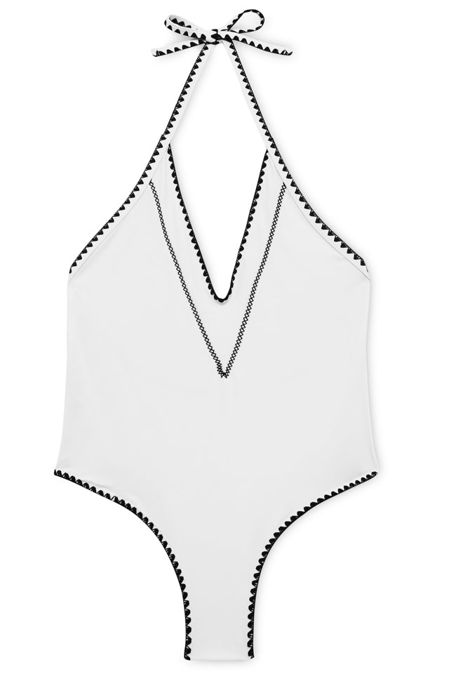 FB517# Crochet Edge Deep Plunge Backless Halter One Piece Swimsuit * - Cobunny