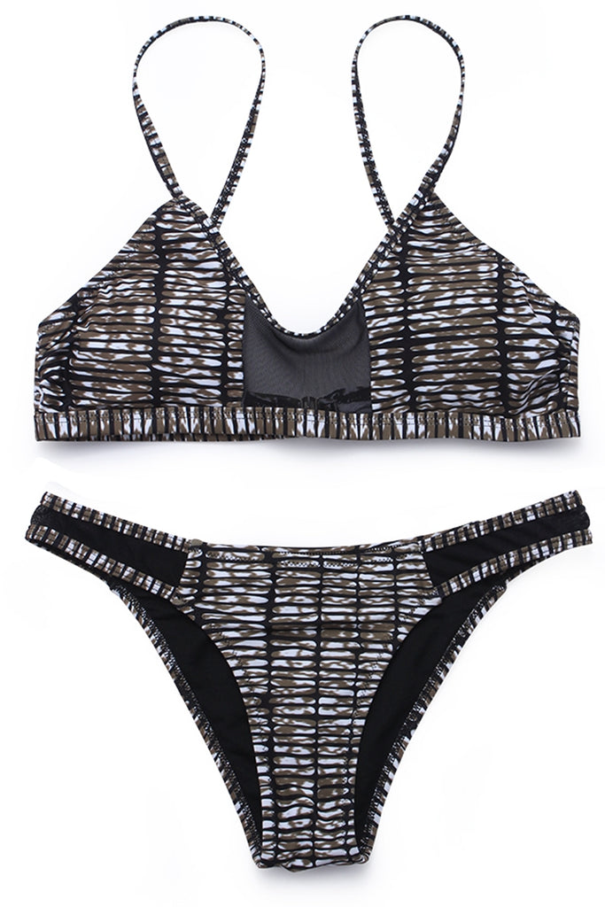ZH059# Camo Print Mesh Panel Scoop Neck Bikini Set * - Cobunny