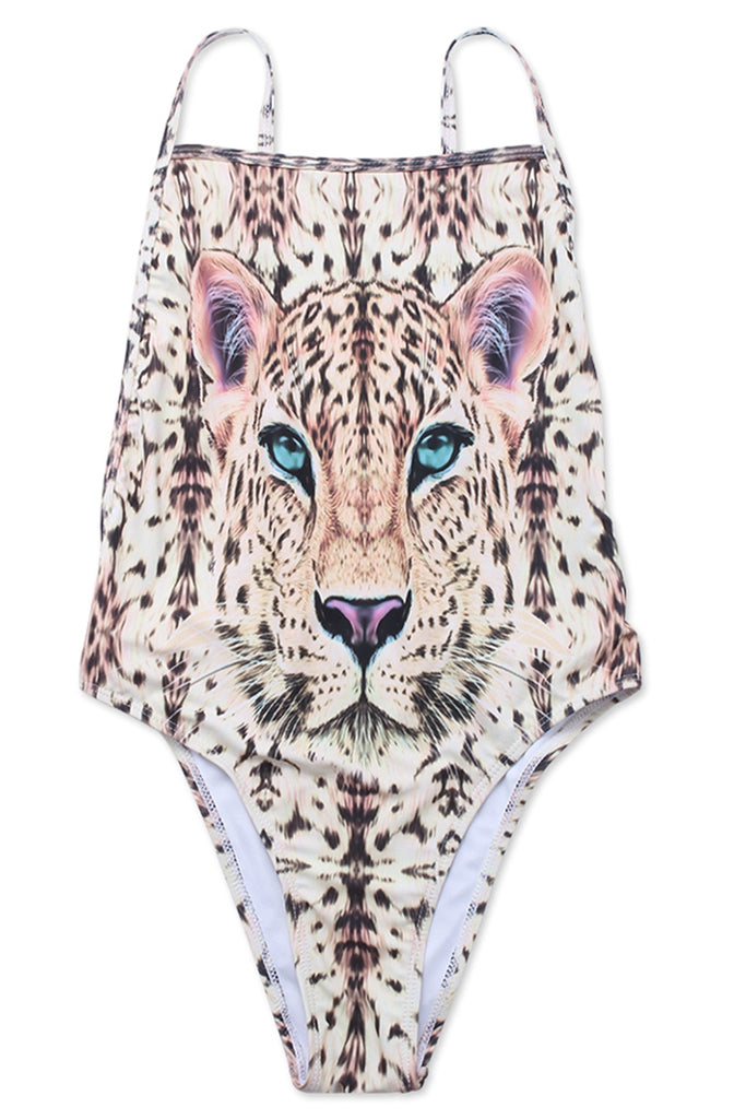 FB552# Leopard Face Spaghetti Straps Backless High Cut One Piece Swimsuit * - Cobunny