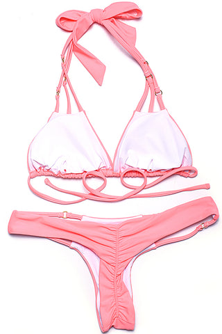 Cut Out Triangle Halter Brazilian Bikini Set With Ring Decoration - Cobunny