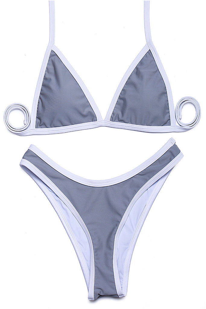FB500# Contrast Trim Triangle Halter High Cut Brazilian Bikini Set * - Cobunny