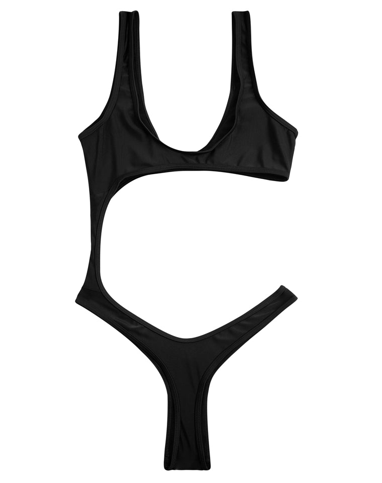 PF008# Solid Color Cut Out One Piece Swimsuit Monokini *