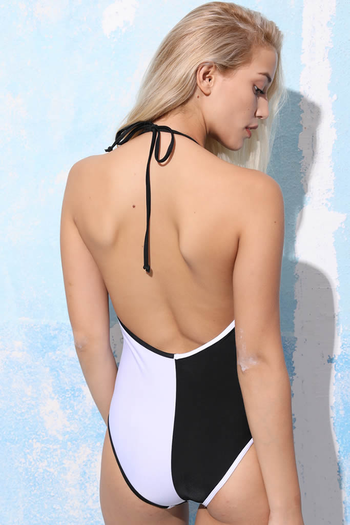 GK007# Black & White Cross Wrap Halter One Piece Swimsuit * - Cobunny