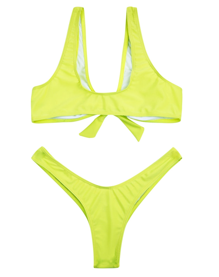 PF020#  Solid Color V-Neck Brazilian Bikini Set * - Cobunny