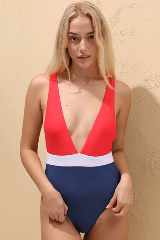 PF031# Red & Blue Colorblock Deep Plunge High Cut One Piece Swimsuit *