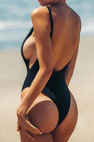 #PF033# V Neck One Piece Swimsuit* - Cobunny