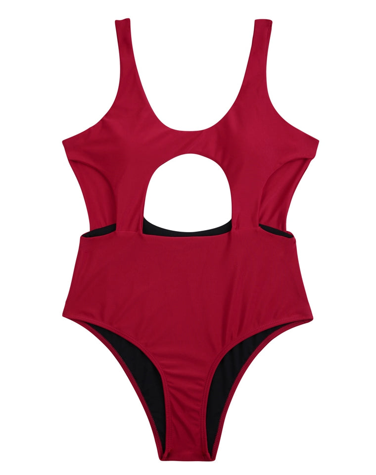 PF036# U Neck Cut Out One Piece Swimsuit Monokini * - Cobunny