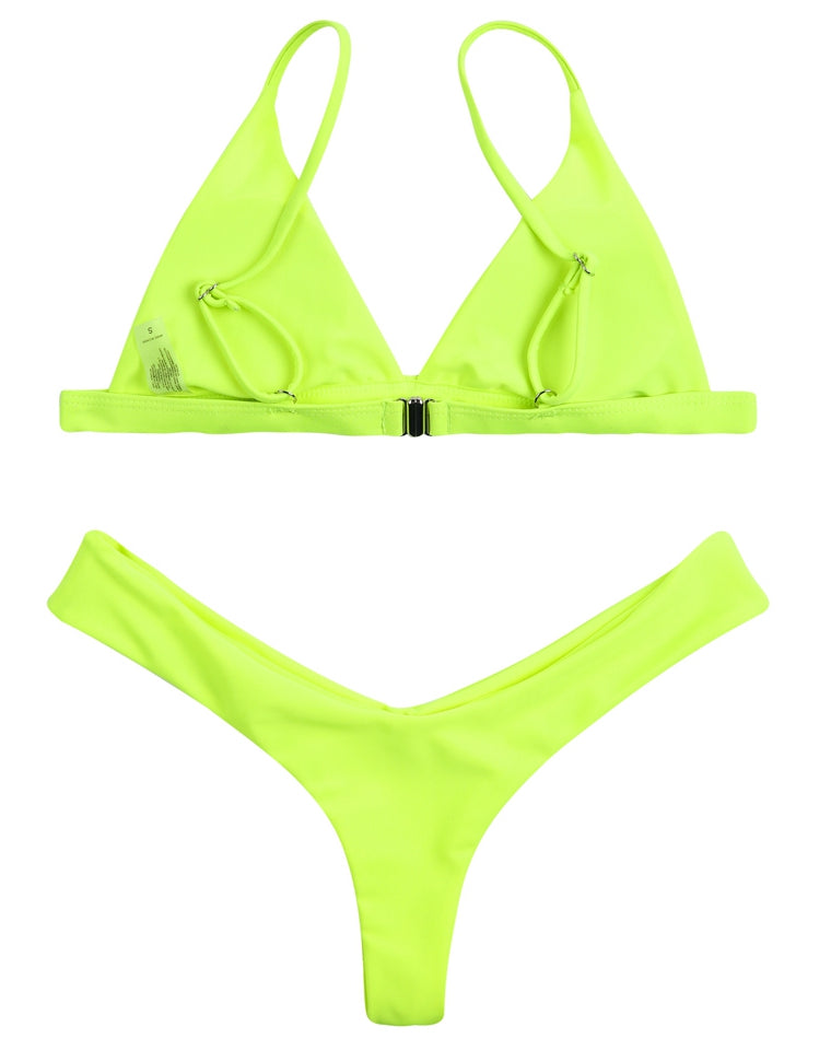 PF037# Triangle Solide Brazilian Bikini Set* - Cobunny