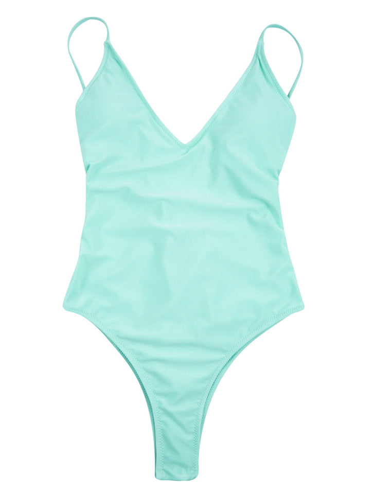 #PF041# Solid Color V Neck Backless One Piece Swimsuit* - Cobunny