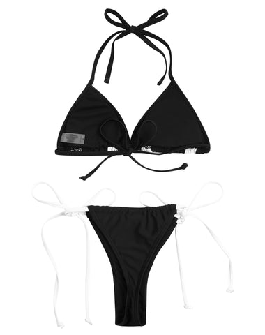 PF043# Black & White Collision Triangle Tie Side Bikini Set* - Cobunny