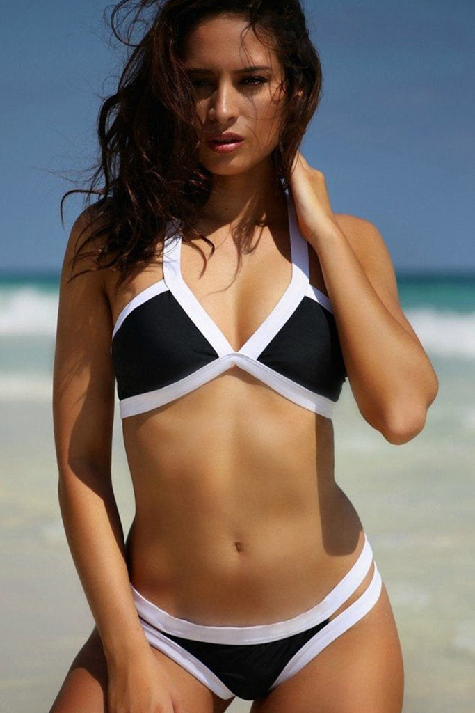 ZH002# Color Contrast Banded V Neck Bikini Set