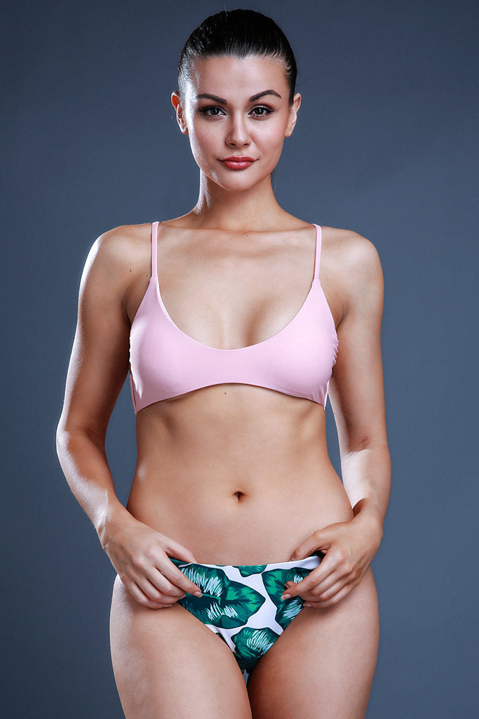 ZH008# Green Leaf Bottom & Pink V Neck Top Bikini Set *