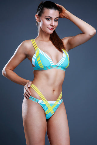 Multicolor Stripes Bandage Triangle Halter Bikini Set - Cobunny