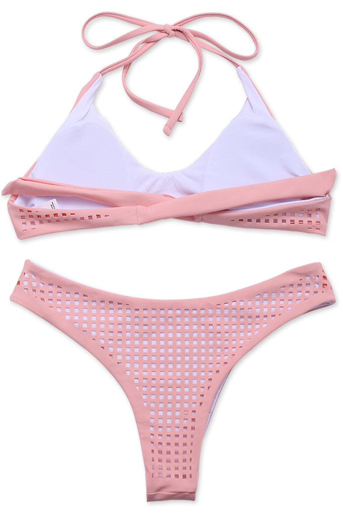 Pink Laser Grid Cut Out V Neck Halter Brazilian Bikini Set - Cobunny