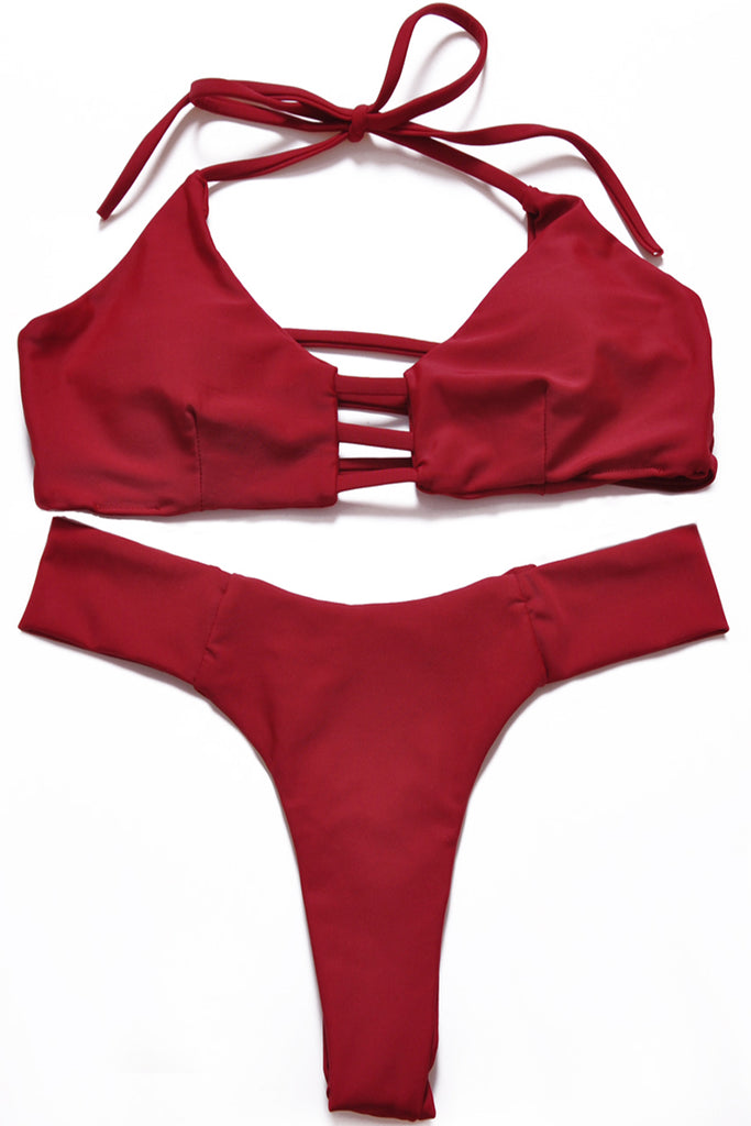 Wine Red Strappy Cutout Bralette Thong Bikini Set - Cobunny