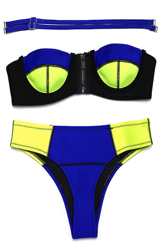 FB782# Blue & Yellow Neoprene Zipper Front Push Up Bandeau Bikini Set * - Cobunny
