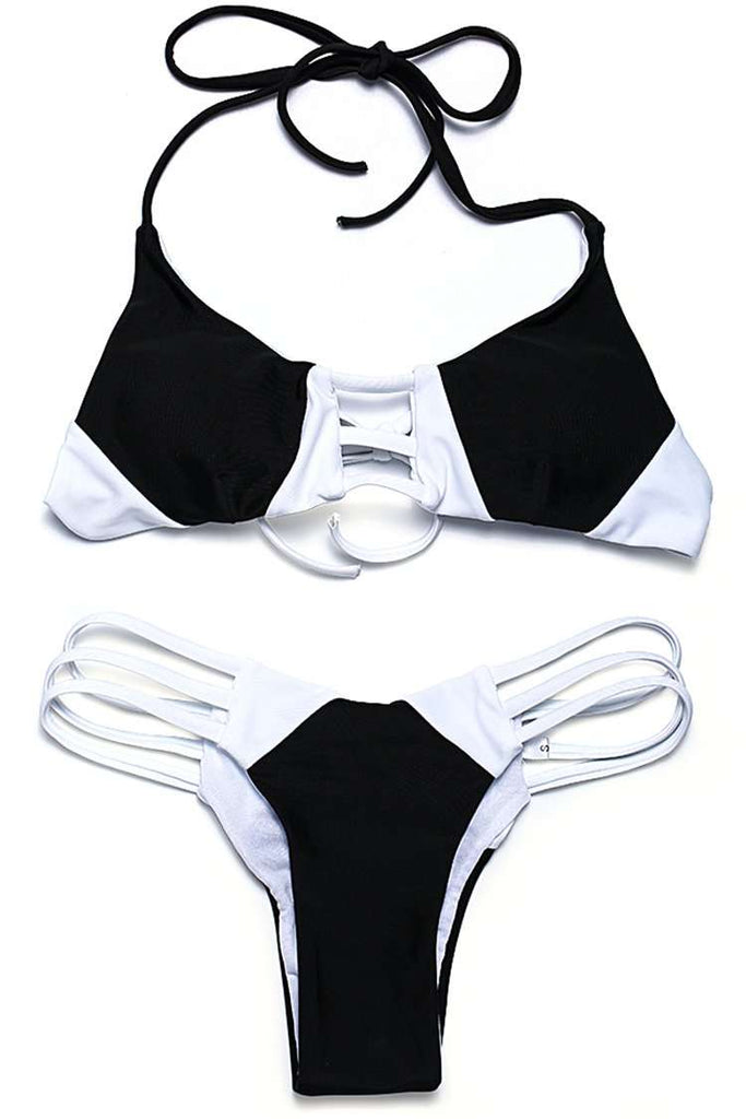 FB907# Black & White Color Block Cutout Bralette Halter Bikini Set * - Cobunny
