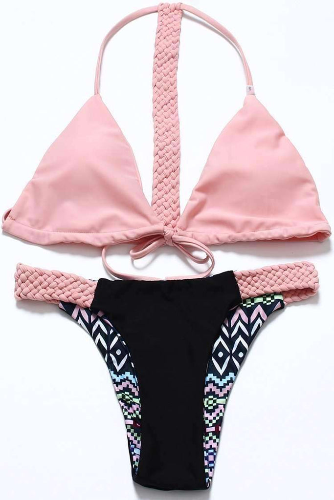 FB909# Pink Reversible Braided Bands Triangle Bikini Set * - Cobunny