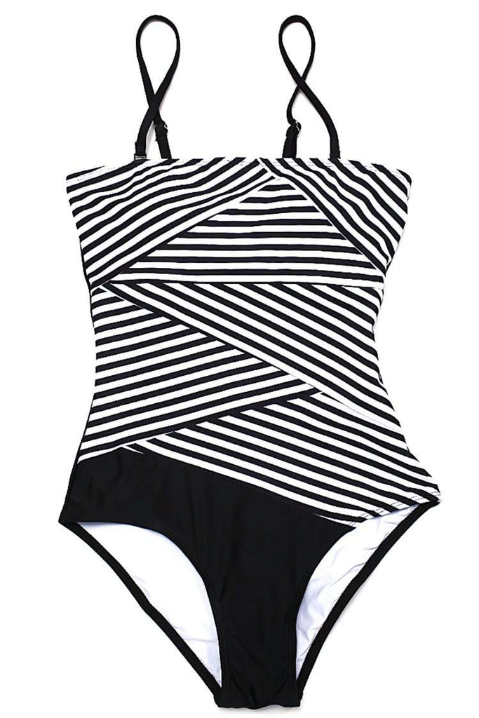 FB994# Black Striped Patchwork Bandeau One Piece Swimsuit * - Cobunny