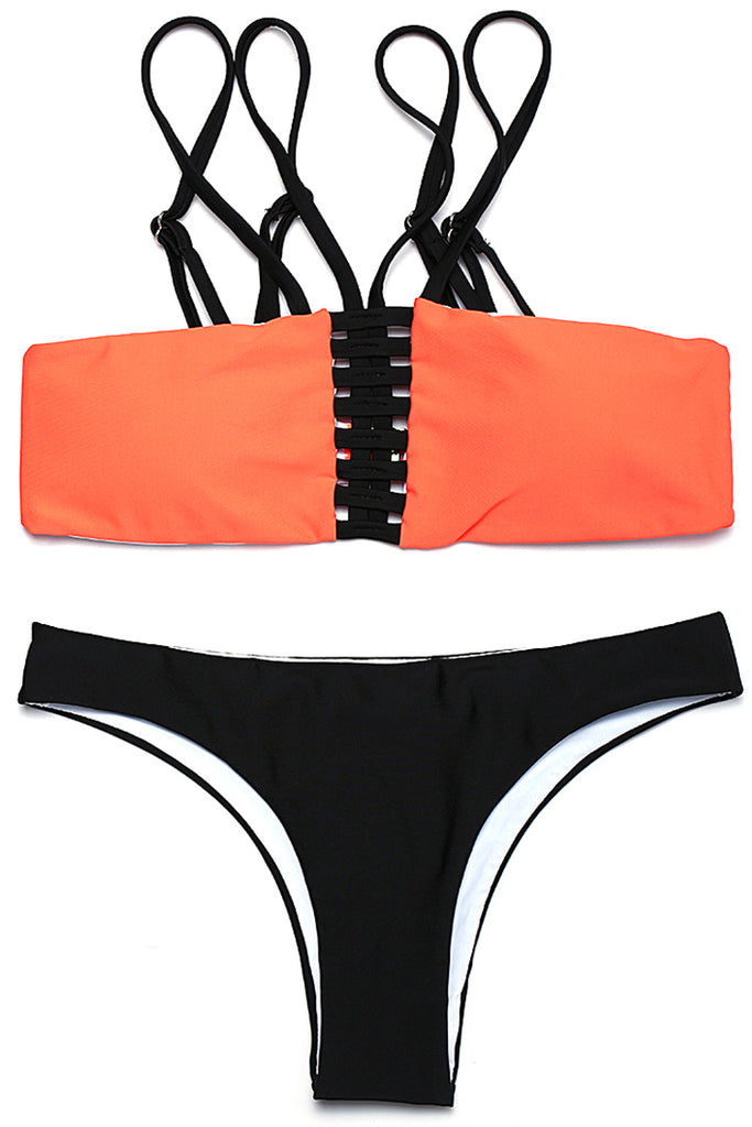 FB964# Orange Strappy Cutout Bandeau Top & Black Bottom * - Cobunny