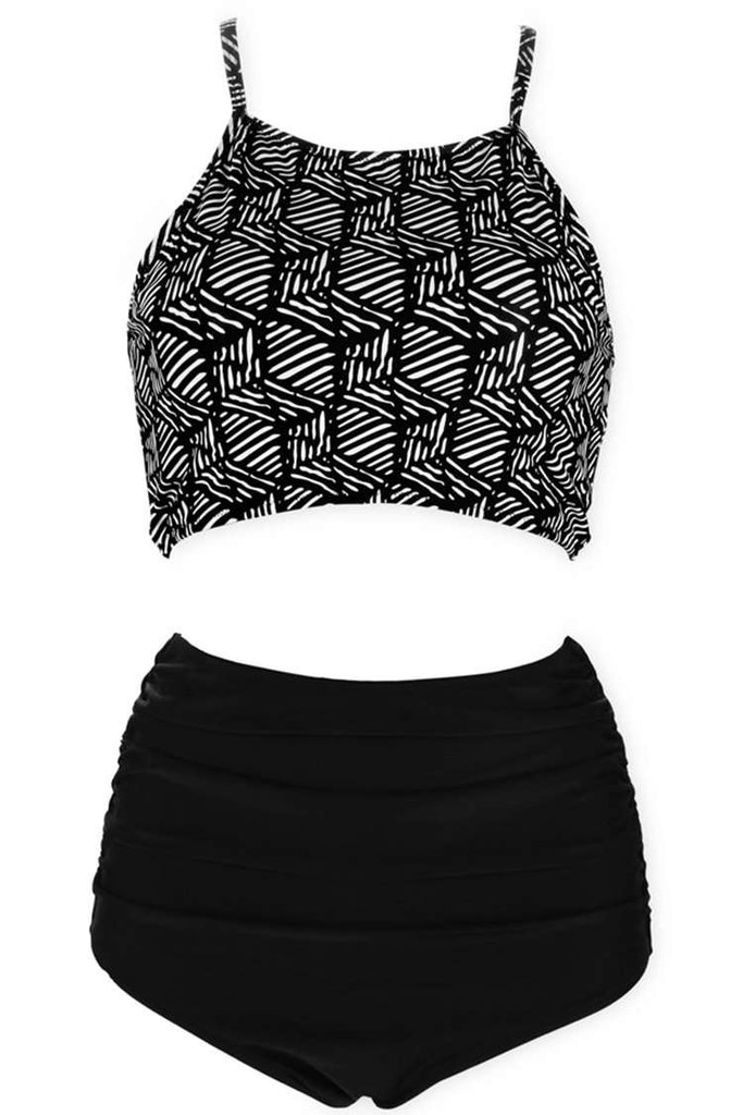A284# Vintage Geometric Pattern High Neck Top & High Waist Bottom * - Cobunny
