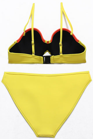 Multicolor Neoprene Perforated Panel Contrast Binding Balconette Bikini Set - Cobunny