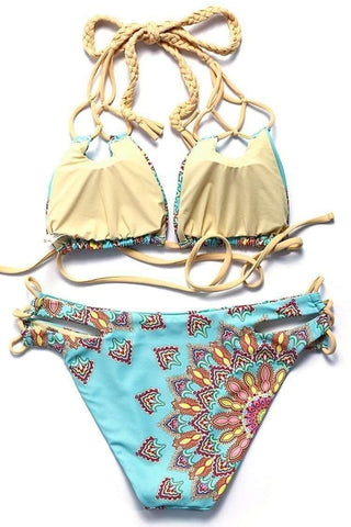 Abstract Pattern Print Braided Triangle Halter Bikini Set - Cobunny