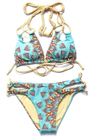 Zh016# Abstract Pattern Print Braided Triangle Halter Bikini Set * - Cobunny