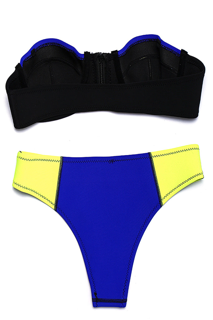 Blue & Yellow Neoprene Zipper Front Push Up Bandeau Bikini Set - Cobunny