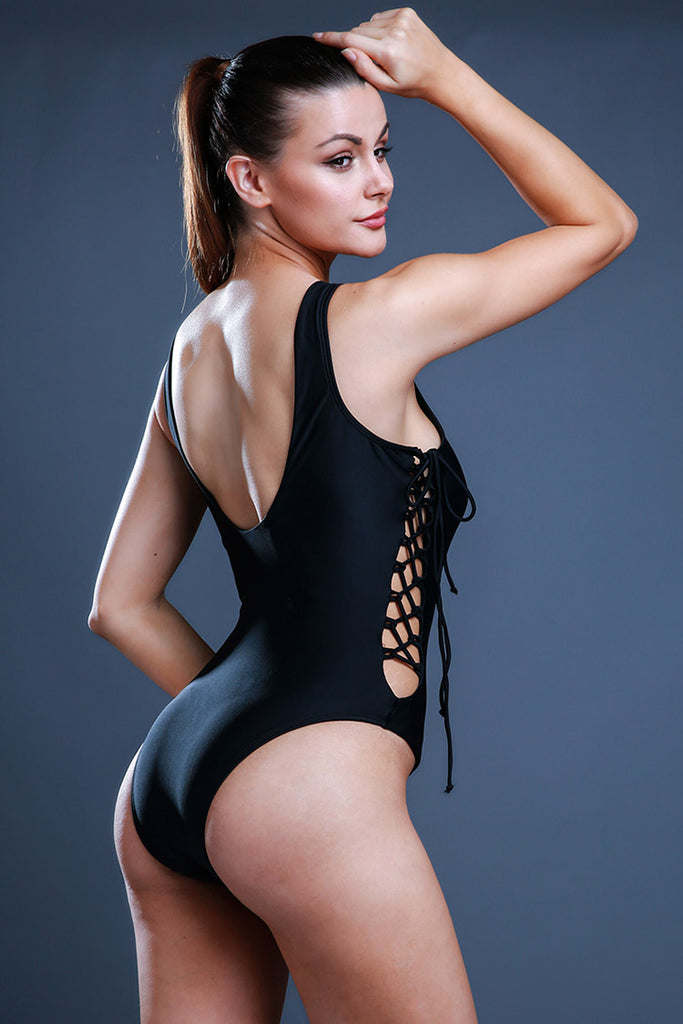 FB518# Solid Color Crisscross Lace Up Deep Plunge One Piece Swimsuit * - Cobunny