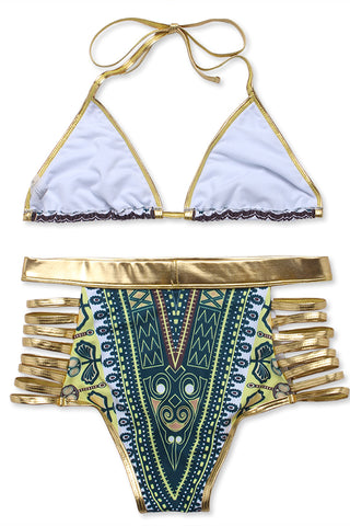 Olive Green Tribal Print Gold Trim High Waist Bikini Set - Cobunny