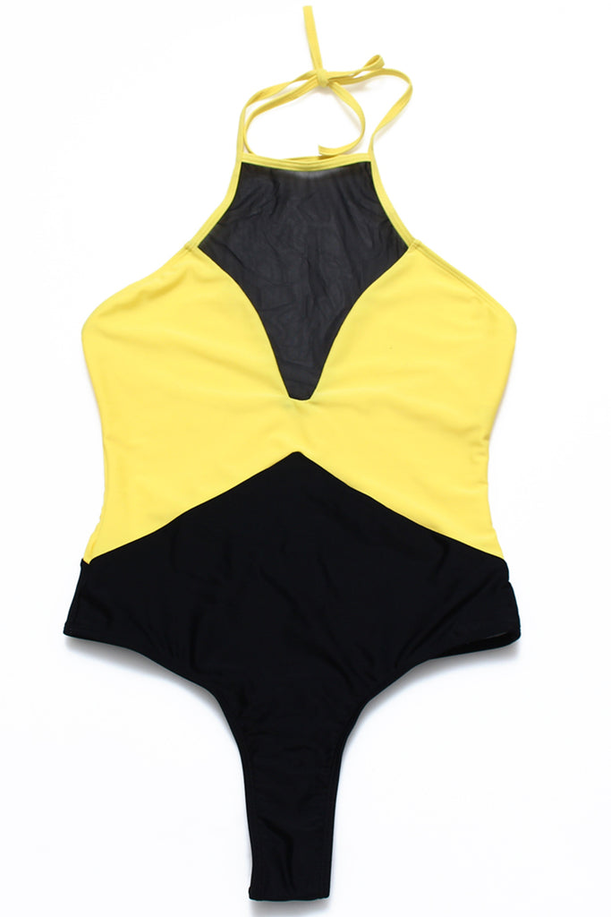 FB927# Color Block Mesh Panel Halter High Neck One Piece Swimwear * - Cobunny