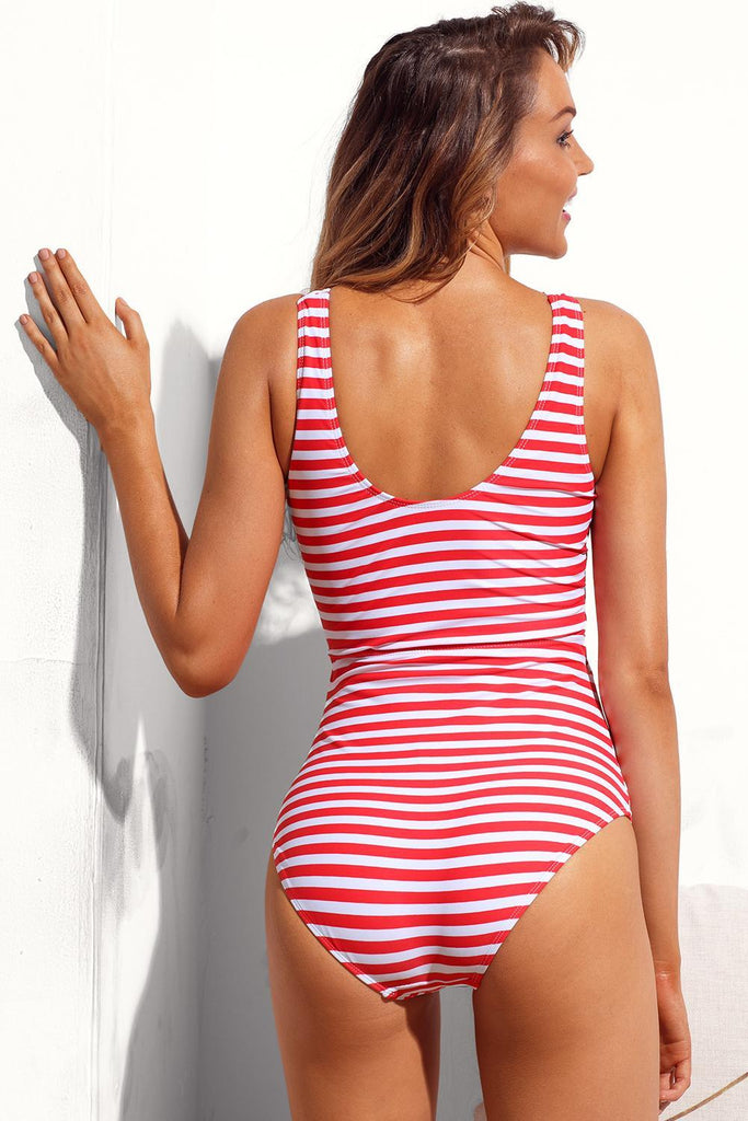 White Striped Cutout Tie Front Beach Maillot