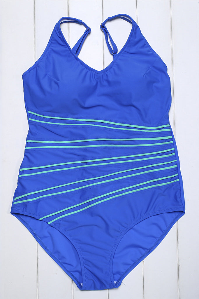 GK013# Contrast Piping Scoop Back Tank One Piece Swimsuit * - Cobunny