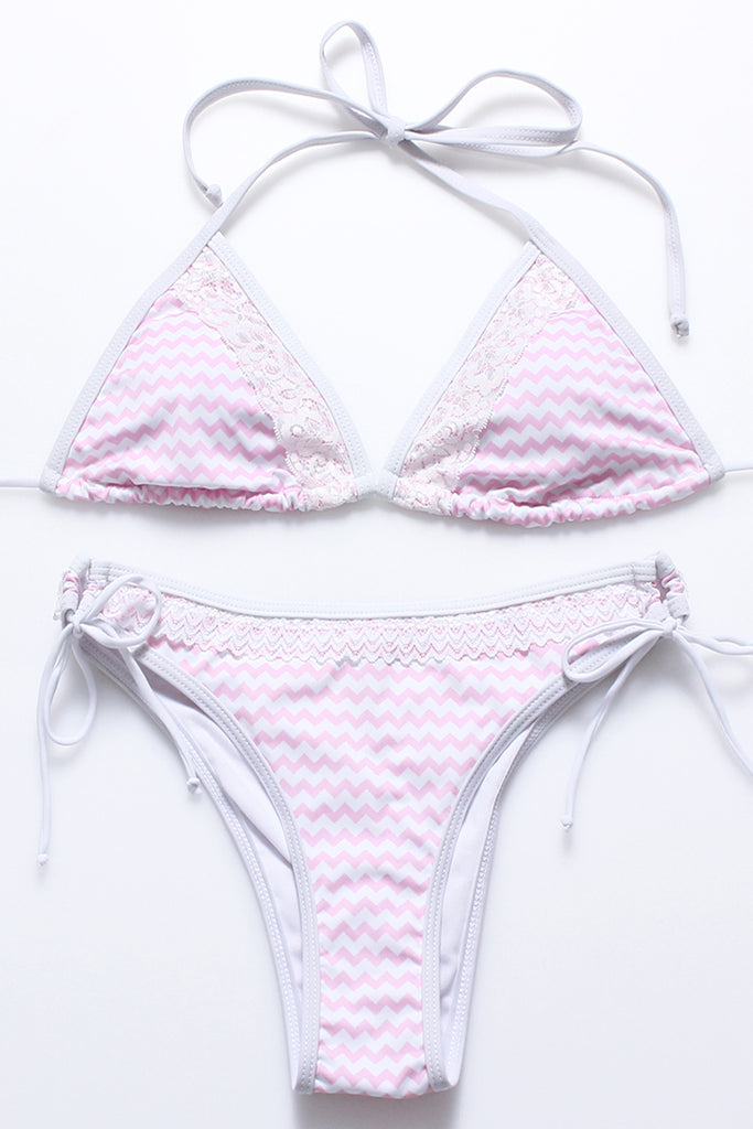 FB935# Ocean Wave Pattern Lace Trim Strappy Triangle Halter Bikini Set * - Cobunny