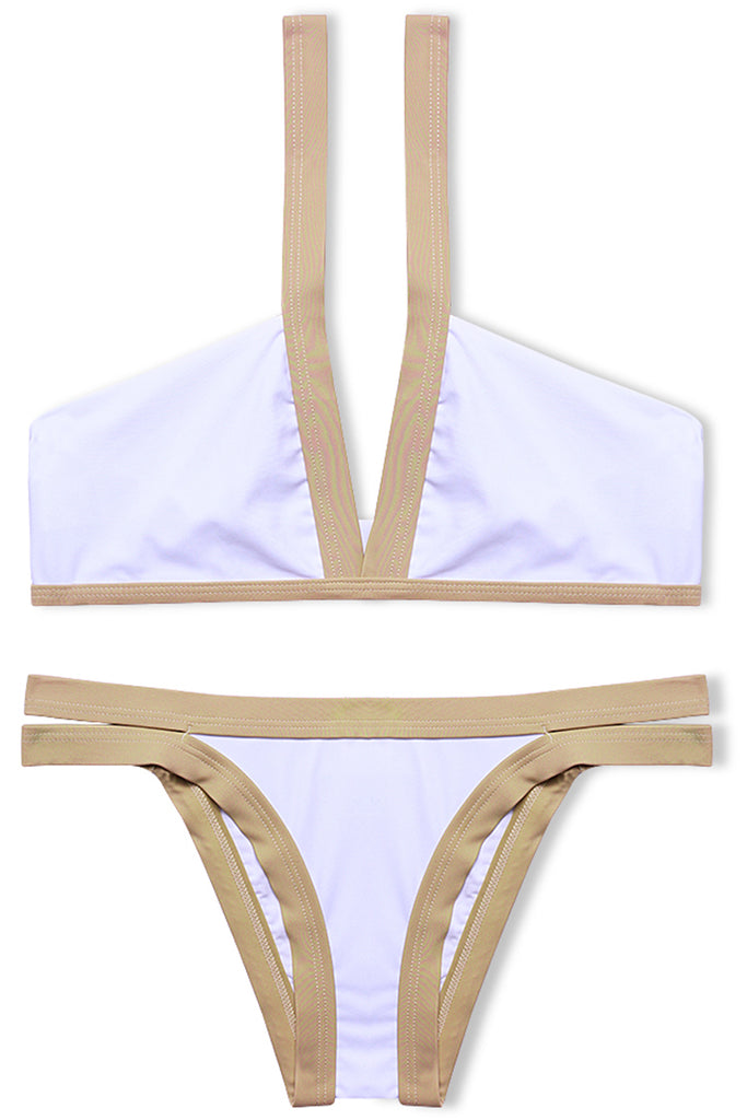 Color Contrast Banded V Neck Bikini Set - Cobunny