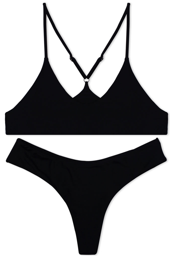 ZH067# Solid Color Scoop Neck Spaghetti Straps Bikini Set * - Cobunny