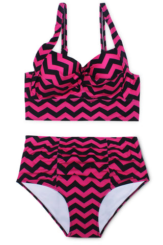 Chevron Ruched Push Up Longline High Waist Bikini Set - Cobunny