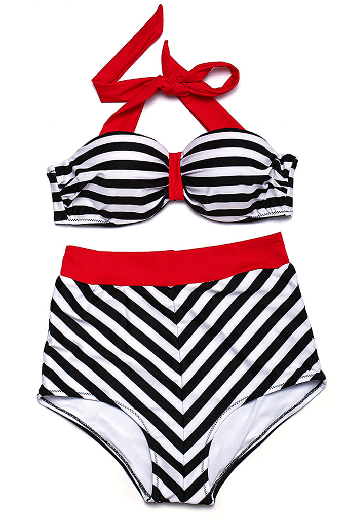 Striped Push Up Bandeau Halter High Waist Bikini Set - Cobunny