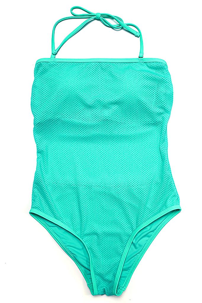 FB996# Solid Color Mesh Bandeau Halter High Cut One Piece Swimsuit * - Cobunny