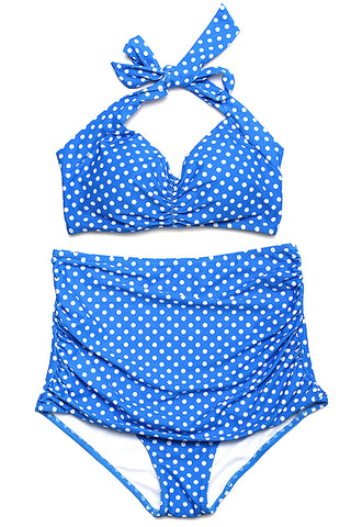 FB973# Vintage Polka Dot Ruched Halter High Waist Bikini Set * - Cobunny