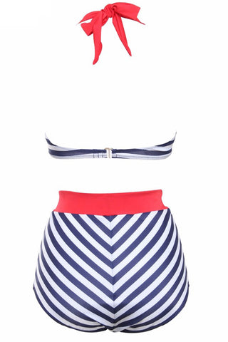 GK021# Striped Push Up Bandeau Halter High Waist Bikini Set * - Cobunny