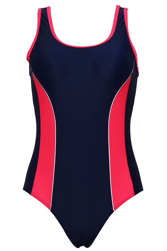 FB980# Rosered & Deep Blue Contrast Trim Scoop Back Tank One Piece Swimsuit * - Cobunny
