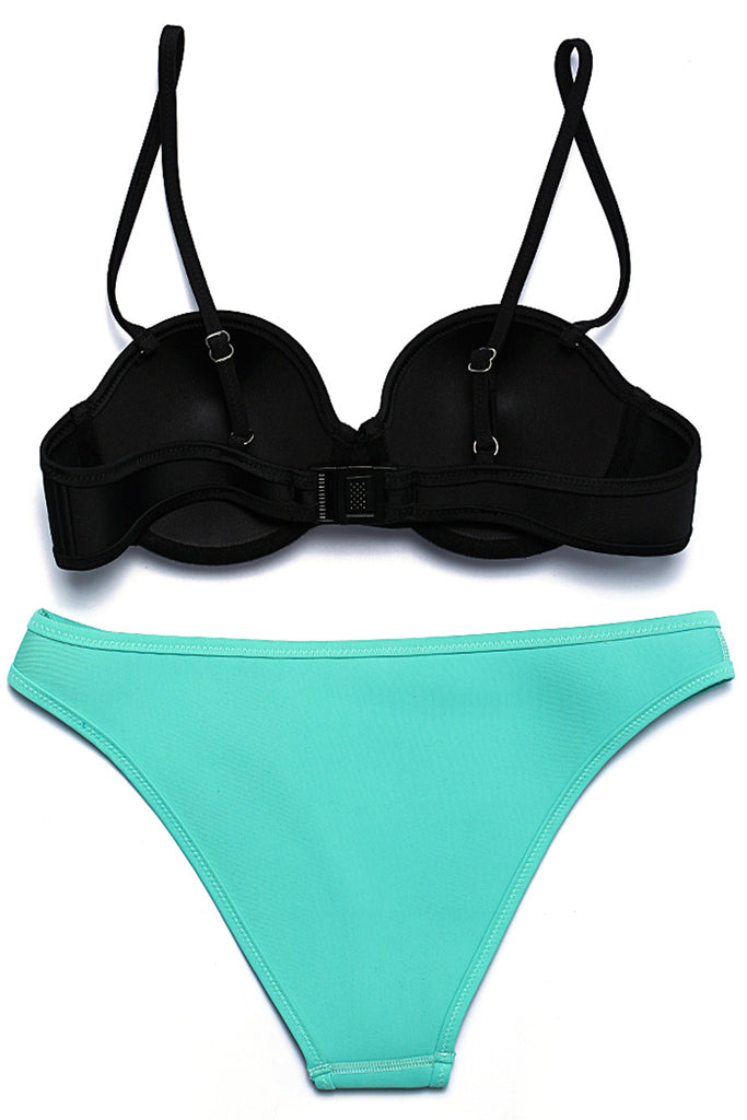 Two Tone Neoprene Triangle Bikini Set - Cobunny