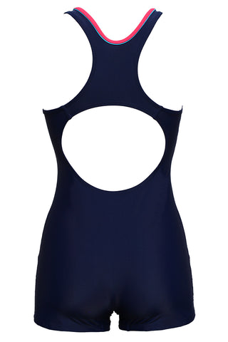 FB978# Color Block Racerback Tank Boyleg One Piece Swimsuit * - Cobunny