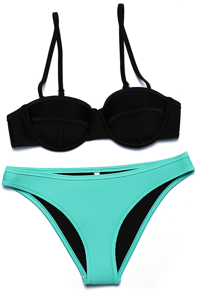 FB951# Two Tone Neoprene Triangle Bikini Set * - Cobunny