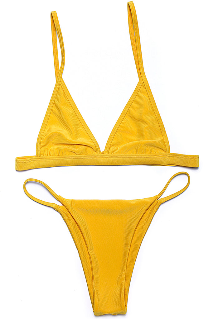 Solid Color Spaghetti Straps Triangle String Brazilian Bikini Set - Cobunny