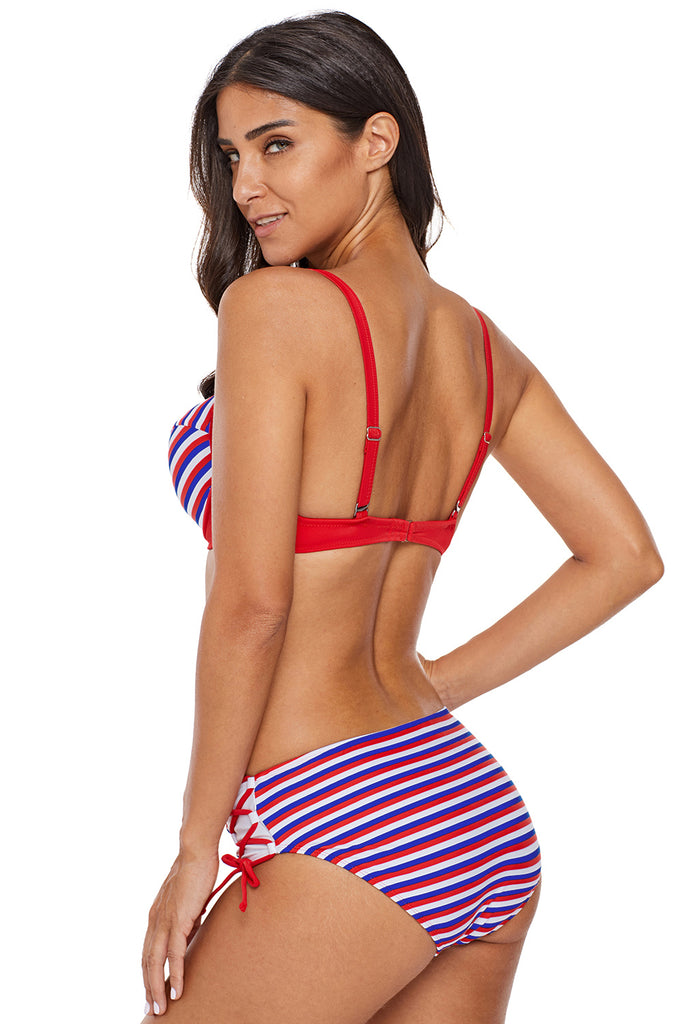dish Multi Striped Bikini Tie Side Bottom Swimsuit