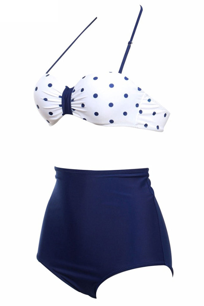 Deep Blue Polka Dot Push Up Top & High Waist Bottom - Cobunny
